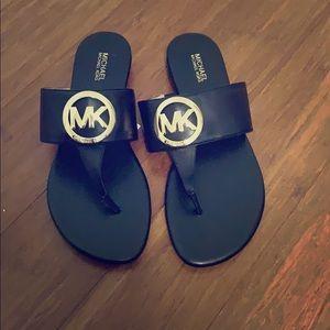 Michael Kors black leather racquel thong sandals